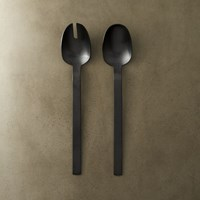 2 Piece Matte Black Salad Server Set