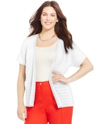 Jones New York Collection Plus Size Open Front Cardigan Jwhite