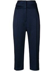 Haider Ackermann High Waisted Cropped Trousers Cotton Acetate Rayon Blue