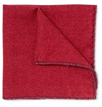 Brunello Cucinelli Wool Pocket Square Red