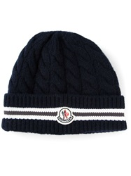 Moncler Braided Turn Up Beanie Blue