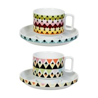 Magpie Viva Cup And Saucer Set Overlap Stripes