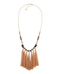 Nakamol Long Beaded Stone Multi Tassel Necklace No Color