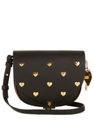 Sophie Hulme Mini Barnsbury Studded Heart Cross Body Bag Black Gold
