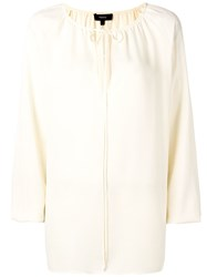 Theory Gathered Tied Blouse Neutrals