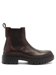 Brunello Cucinelli Chelsea Leather Ankle Boots Dark Brown