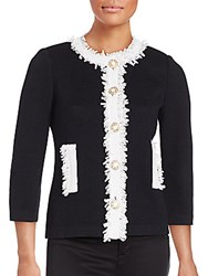 St. John Wool Blend Fringe Trim Jacket Black White