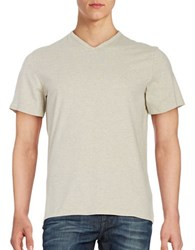 Black Brown V Neck Cotton Tee Oyster Heather