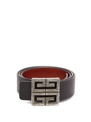 Givenchy 4G Logo Buckle Reversible Leather Belt Black Brown