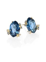 Alexis Bittar Fine Royal Marquis London Blue Topaz Diamond Sapphire And 18K Yellow Gold Earrings Gold Sapphire