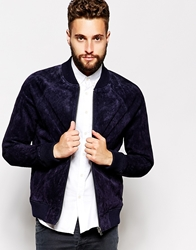Barney's Originals Barneys Jacket Suede Punched Bomber Navy