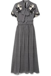 Lela Rose Pussy Bow Embroidered Checked Silk Chiffon Dress Black