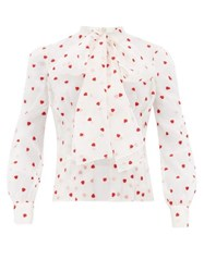 Brock Collection Pussy Bow Heart Embroidered Silk Blend Blouse Ivory Multi