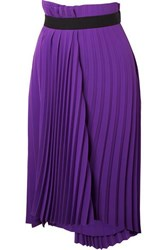 Balenciaga Asymmetric Pleated Crepe Midi Skirt Purple