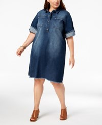 Styleandco. Style Co Plus Size Cotton Raw Hem Denim Shirtdress Caneel