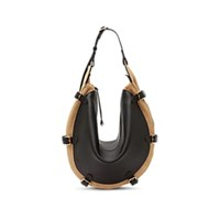 Altuzarra Play Small Leather And Suede Hobo Bag Blk Lt Brn