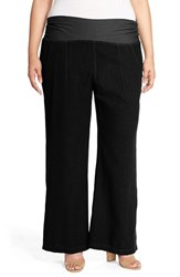 Plus Size Women's Xcvi Wearables 'Redlands' Wide Leg Linen Pants Black
