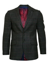 Raging Bull Men's Tweed Overcheck Blazer Forest Green