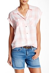 7 For All Mankind Cap Sleeve Dame Plaid Blouse Pink