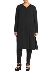 Plus Size Women's Eileen Fisher Silk Mandarin Collar Long Jacket Black