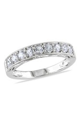 Sterling Silver Created White Sapphire Band Metallic
