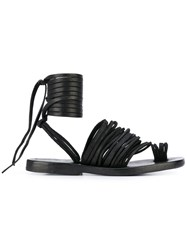 Dimissianos And Miller Ankle Lace Up Flat Sandals Women Calf Leather Leather 38 Black