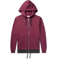 Public School Langston Oversized Shell Trimmed Cotton Jersey Zip Up Hoodie Burgundy