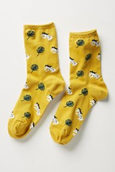 Hansel From Basel Thelonius Palm Leaf Crew Socks Dark Yellow