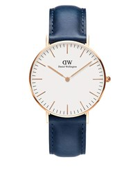 Daniel Wellington Classic Somerset 23K Rose Gold Plated Watch Navy Blue