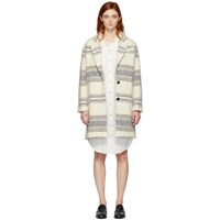 Etoile Isabel Marant Off White Striped Wool Dante Coat