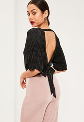 Missguided Black Kimono Sleeve Pleated Crop Blouse