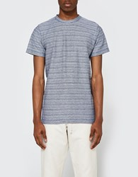 Norse Projects Niels Multi Textured Stripe Ss Navy White