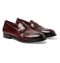 Officine Creative Ivy Burnished Leather Penny Loafers Burgundy