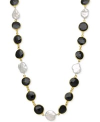 Macy's Onyx 11 1 2Mm And Cultured Freshwater Pearl 11 1 2Mm Necklace In 18K Gold Over Sterling Silver Black