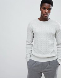 Selected Homme Knitted Cable Jumper In 100 Organic Cotton Light Grey Melange