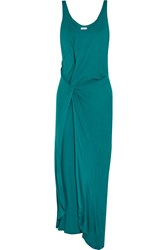 Halston Twist Front Jersey Maxi Dress Blue