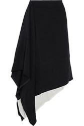 Marni Asymmetric Crepe And Cotton Midi Skirt Black