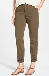 Caslon Stretch Cotton Chino Pants Regular And Petite Olive Tuscan