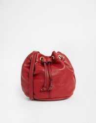 Mango Pebbled Bucket Bag Red