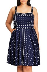 City Chic Plus Size Women's Sweet Darling Piped Dot Print Fit And Flare Dress Navy