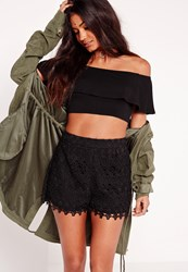 Missguided Lace High Waisted Shorts Black Black