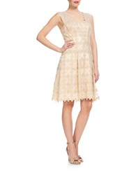 Kay Unger Textured Fit And Flare Dress Gold