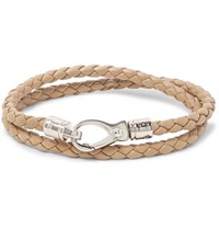 Tod's Woven Leather Wrap Bracelet Sand