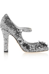 Dolce And Gabbana Sequined Velvet Mary Jane Pumps