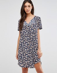 Traffic People Stitch Dress In Illustrated Floral Print Navy Ditsy Floral