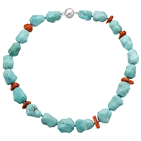 Cobra And Bellamy Beads And Coral Necklace Statement Turquoise