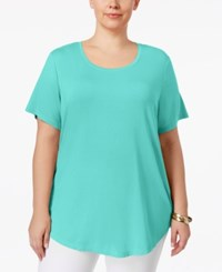 Jm Collection Plus Size Short Sleeve Top Only At Macy's Pacific Aqua
