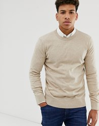 New Look Crew Neck Jumper In Camel Tan