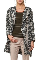 Akris Punto Women's Tropical Leaf Jacquard Coat Sand Avocado