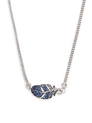 John Hardy Blue Sapphire And Sterling Silver Leaf Pendant Necklace